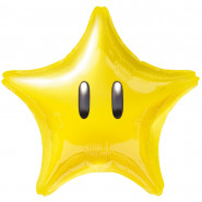 Ballon Etoile jaune Nintendo hélium