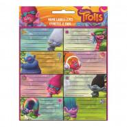 Lot de 16 étiquette Les Trolls Disney cahier enfant