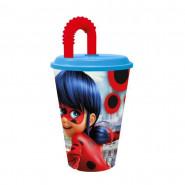 Gobelet plastique + paille Miraculous Ladybug