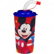Gobelet avec paille Mickey verre plastique 3D