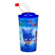 Gobelet plastique 3D + paille PJ Masks verre