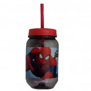 Gourde avec paille Spiderman verre plastique Disney