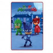 Plaid polaire PJ Masks couverture enfant bleu