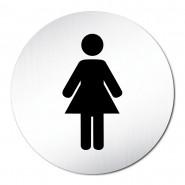 Plaque de toilette femme signalétique acier rond