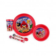 Set 5 pièces Angry Birds assiette verre couvert repas déjeuner enfant