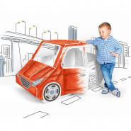 Grande voiture en carton, a construire peindre décorer colorier maison berline