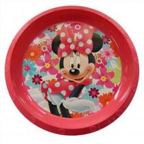 Assiette plastique plate Minnie rose fleur repas enfant
