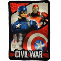 Plaid polaire Captain America Iron Man Les Avengers couverture enfant