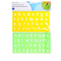 Set de 2 pochoir lettre alphabet scrapbooking jaune vert