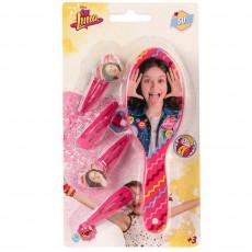 Brosse + 4 barrette Disney Soy Luna enfant  rose barette