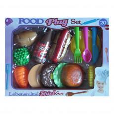 Ensemble de dinette à découper 20 pièces hamburger frite hot dog cuisine enfant, ( legume fruit )