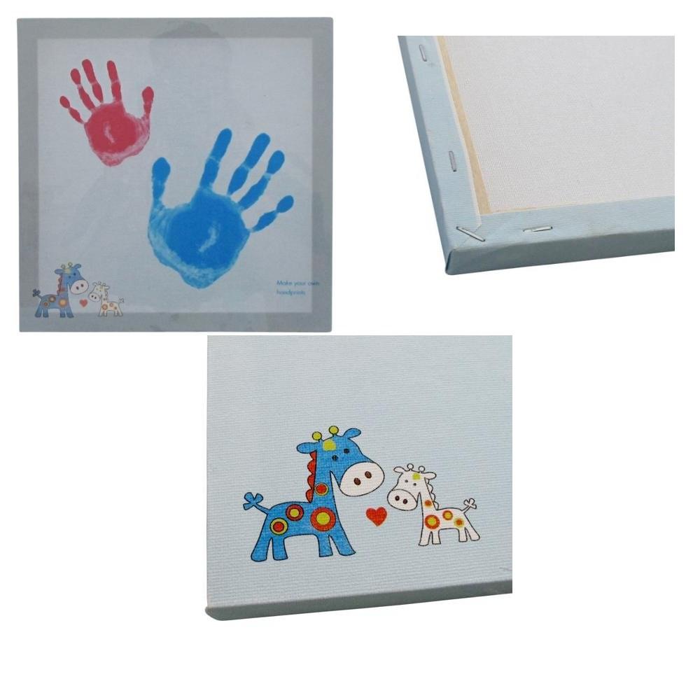 Kit empreinte tableau bleu gar on main pied peinture b b enfant d corations enfant loulomax - Peinture main enfant ...