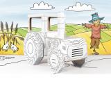 Tracteur en carton, a construire dessiner colorier et décorer maison