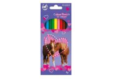 12 crayon de couleur motif chevaux
