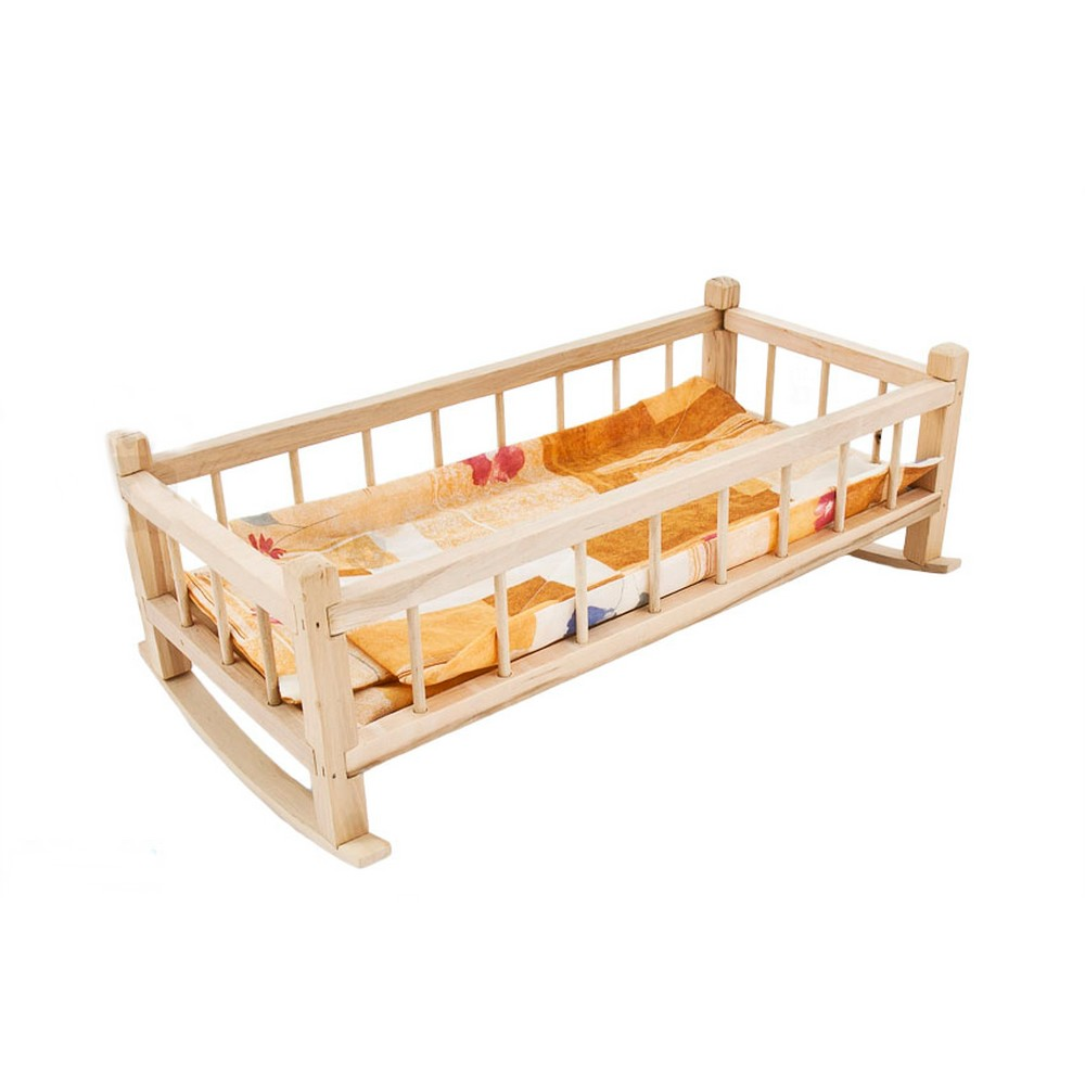 lit bascule en bois pour poup e jouet enfant poupon ebay. Black Bedroom Furniture Sets. Home Design Ideas