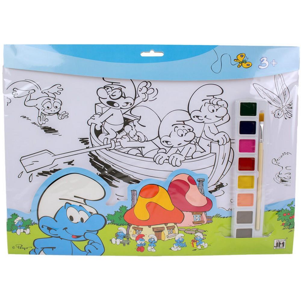 Details About Set De Coloriage Schtroumpf Peinture 8 Couleurs 10 Dessin Pinceau Disney